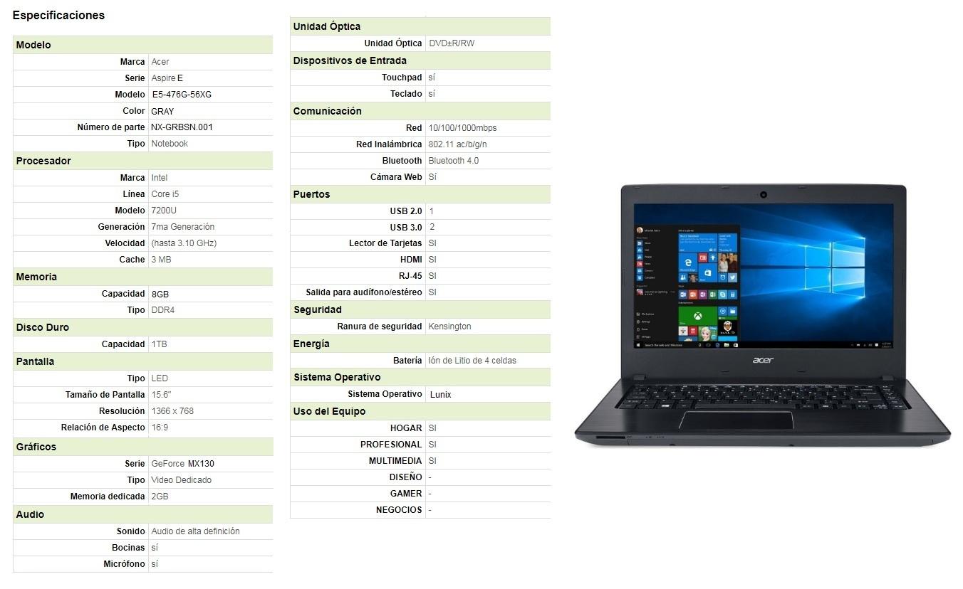 Porttiles De Consumo Acer E5 476g Intel Core I3 6006u Aspire I5 7200u 1tb 8gb Ddr4 Si 2gb Mx130 Linux