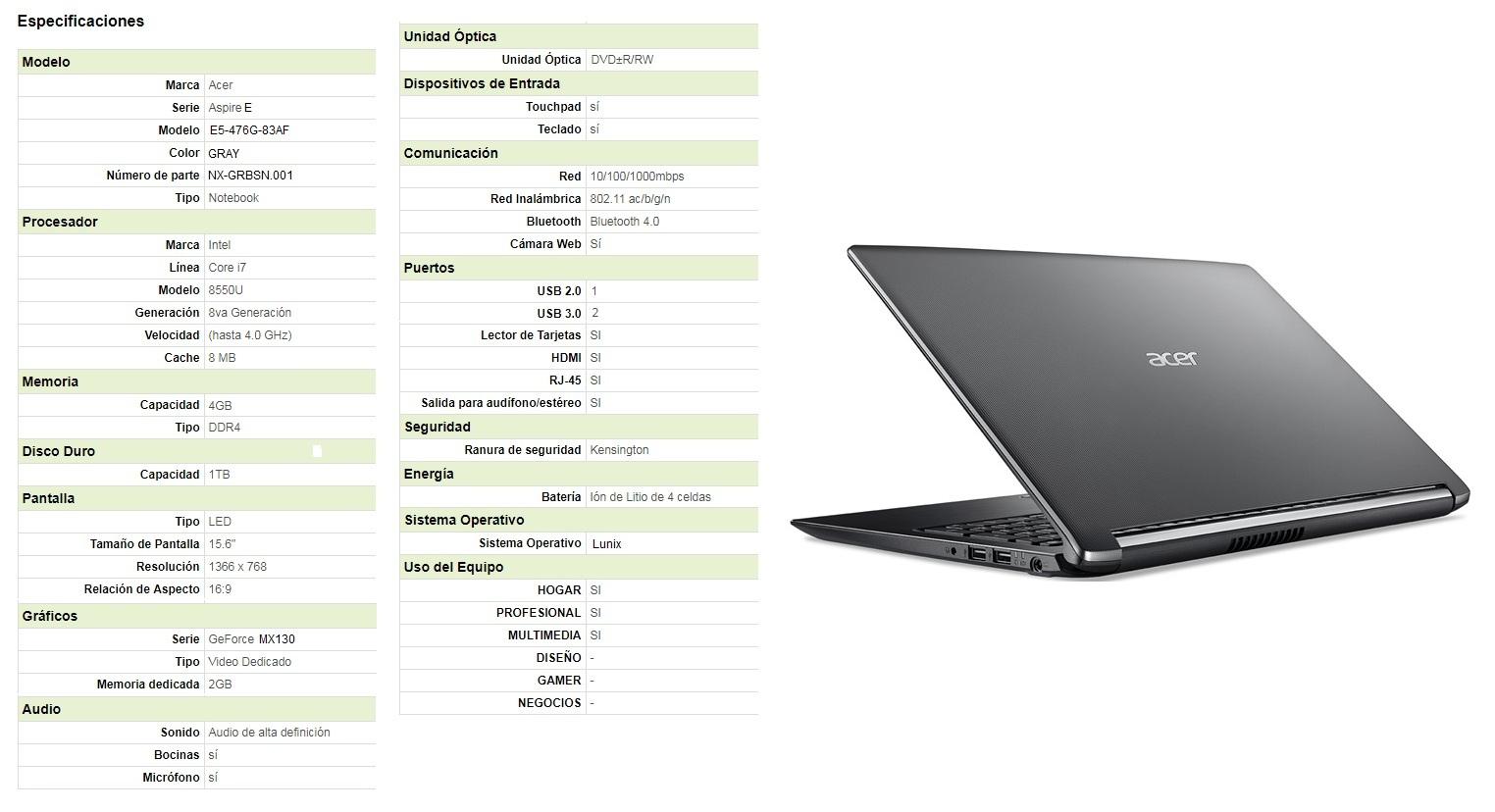 Porttiles De Consumo Acer E5 476g Intel Core I3 6006u Aspire I7 8550u 1tb 4gb Ddr4 Si 2gb Mx130 Linux